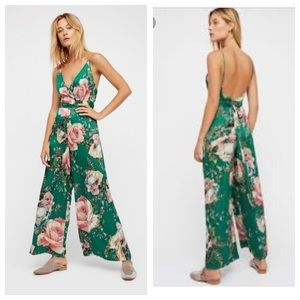 Free People Cabbage Rose Silky Floral Romper Sz 6